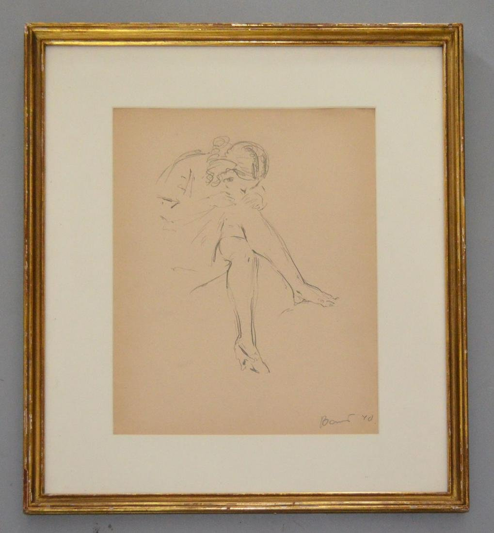 Study of a Girl Drawing Signed Baus 1940