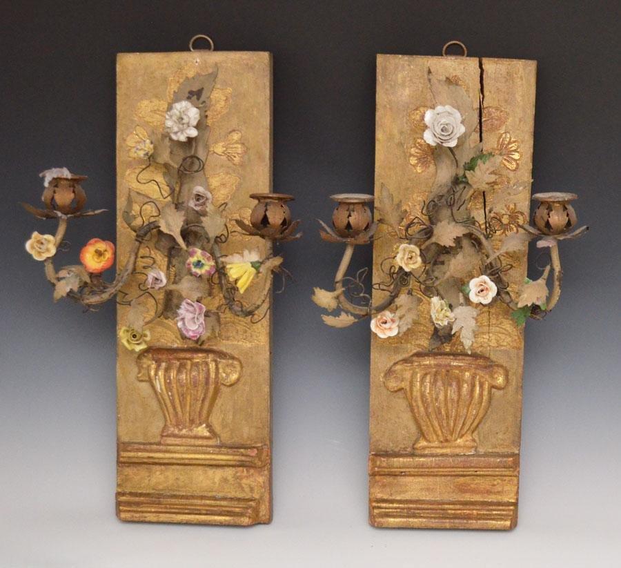 Pair of Gilt Wood & Porcelain Candle Sconces