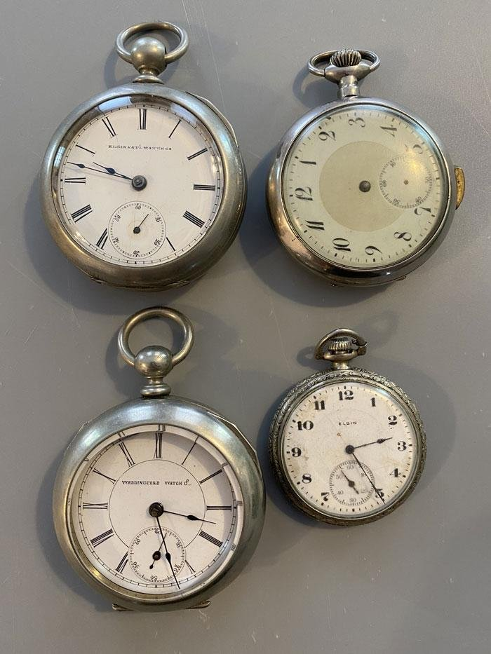 4 Silver Tone Antique Pocket Watches