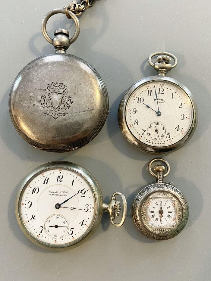 4 Antique Silver Tone Pocket Watches