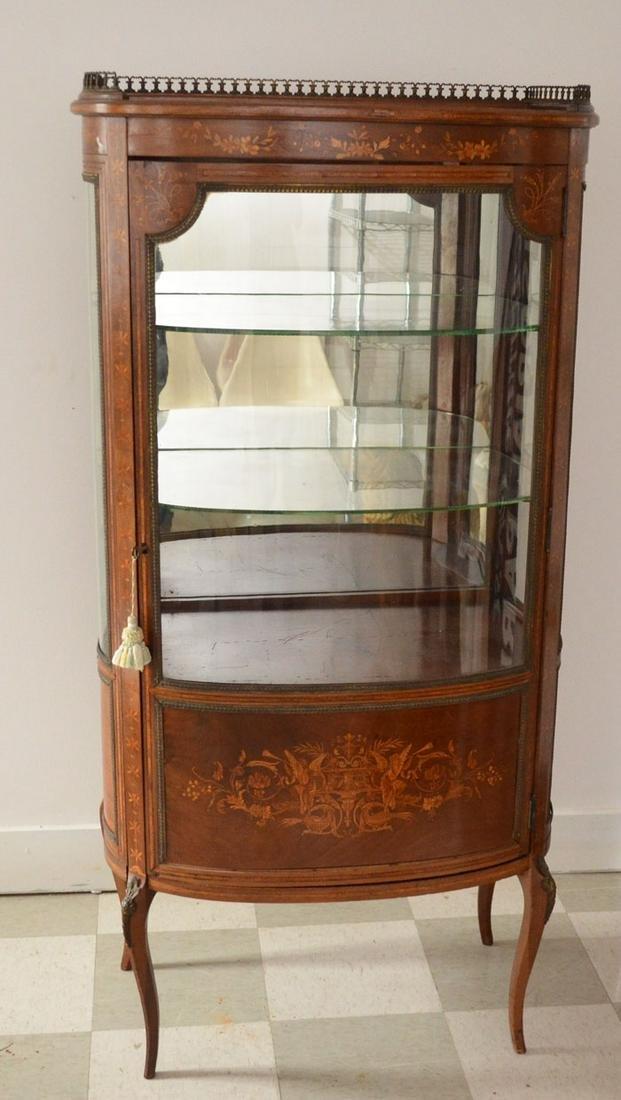 Louis XIV Inlaid Wood & Glass Vitrine Cabinet