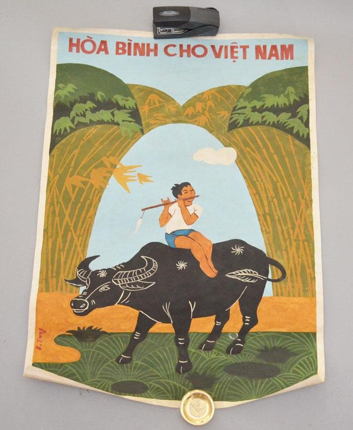 Signed Vietnamese Propaganda Painted Paper