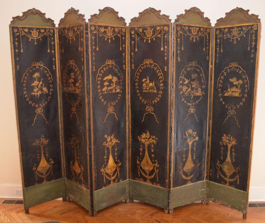 Early 19th Century  8 Panel French Hand Painted Screen