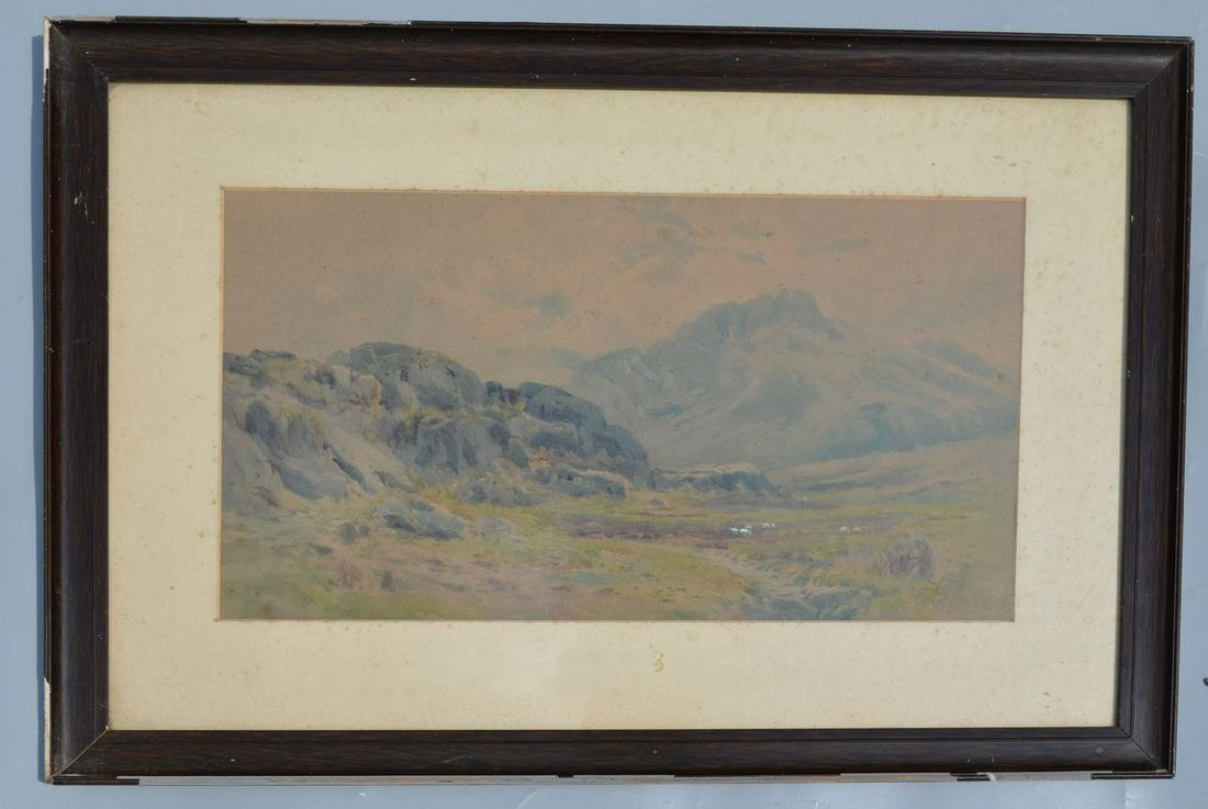 Illegibly Signed Watercolor Painting of Mountain Scene