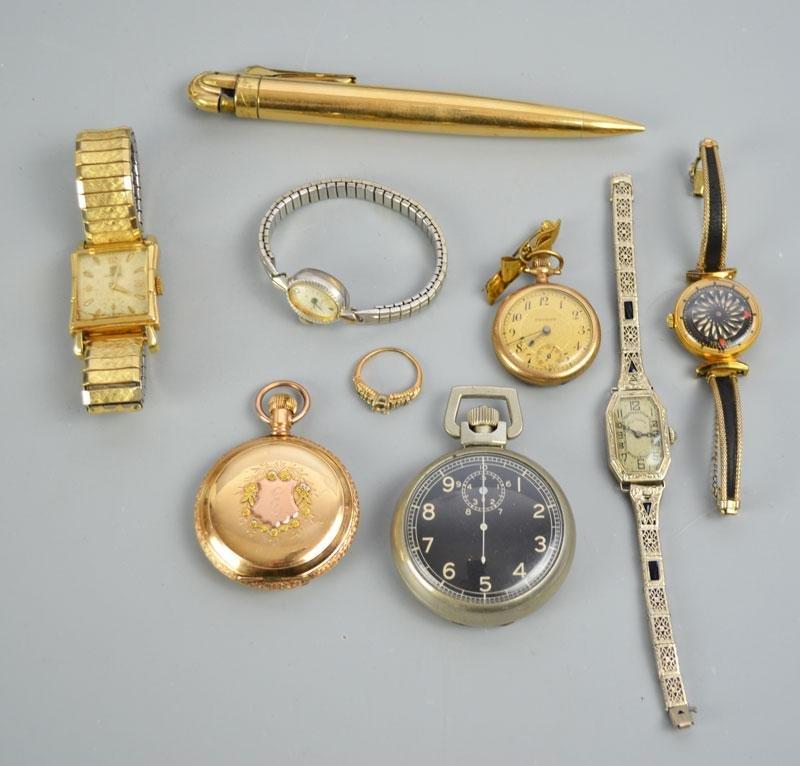 Lot of Vintage Wrist & Pocket Watches (Omega, Borel)