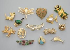 Collection of Vintage Costume Jewelry Animal Pins