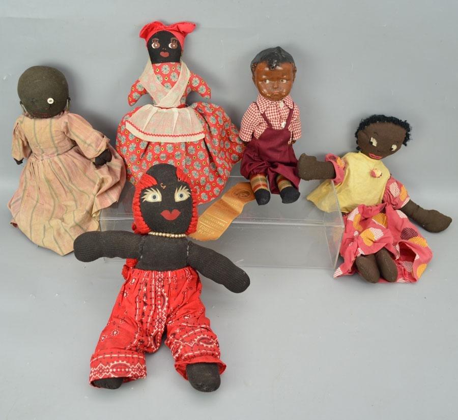 Lot of Black American Cloth Dolls