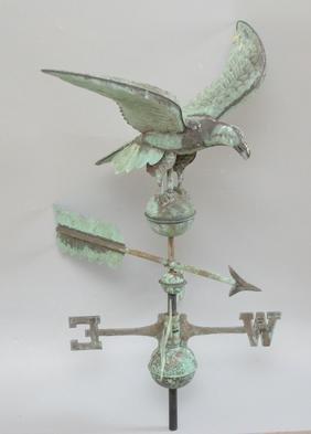 Vintage Copper Eagle Weathervane w Directional