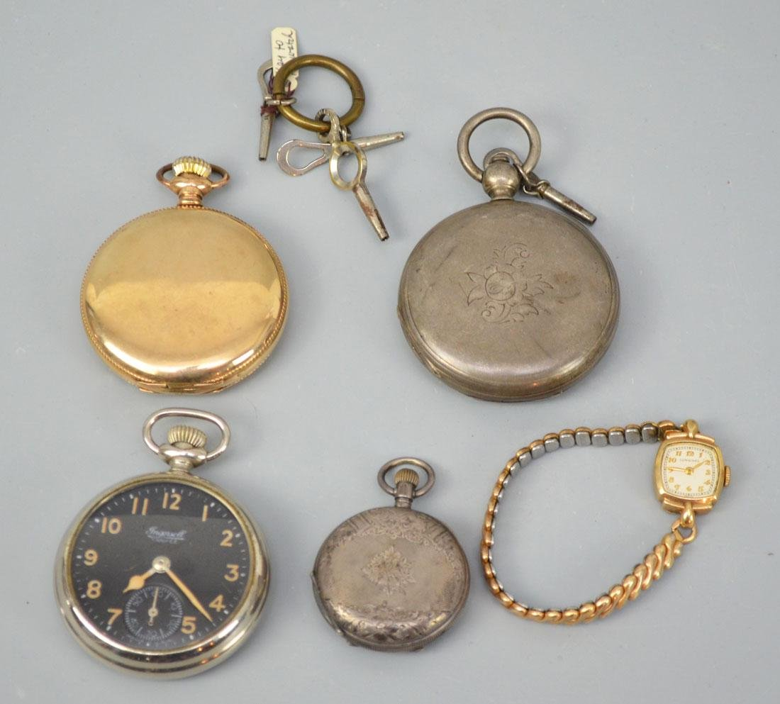 Collection of Antique Pocket Watches w Wristwatch