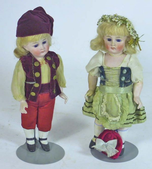 1: 2 All Bisque Antique Swivel Head Dolls Glass Eyes