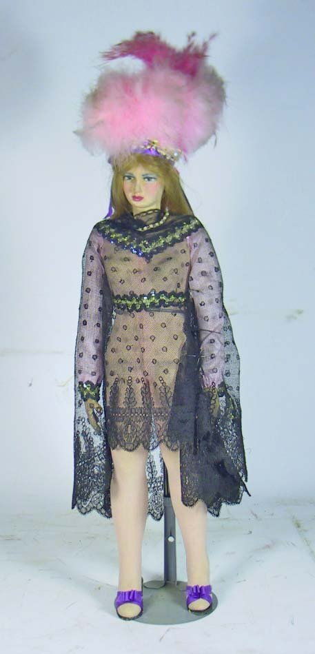 2: Circa 1930's Folk Art Show Girl Burlesque Doll