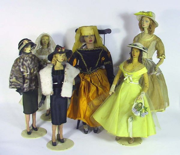6: 6  Vintage Hand Made Folk Art Character Dolls