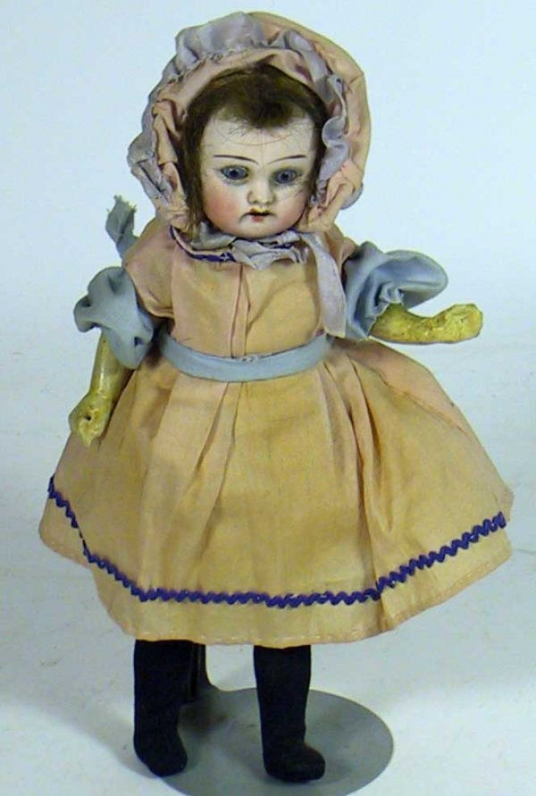 10: Umarked Antique Bisque Head Doll Wooden Body
