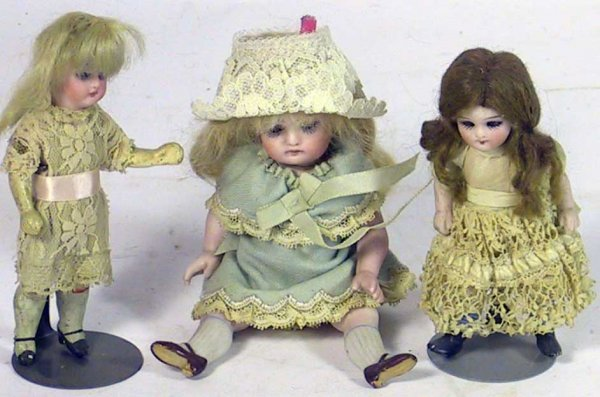 20: 3 Glass Eyed All Bisque Antique German Dolls