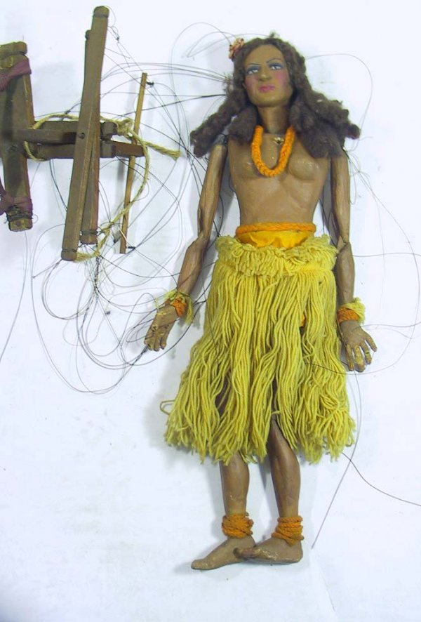 22: Circa 1930's Folk Art Hula Dancer Marionette