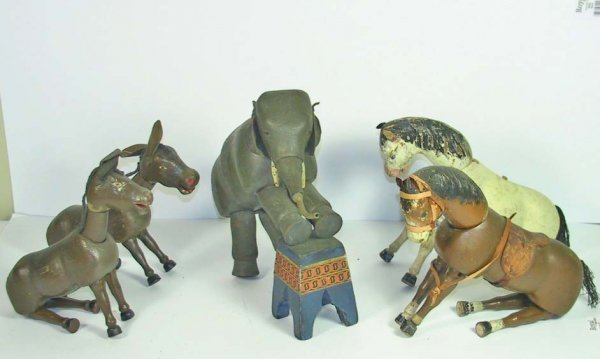 24: Lot of 6 Schoenhut Wood Circus Animals