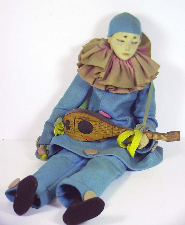 55: Very Rare Unmarked 1920's Lenci Felt Pierrot Doll