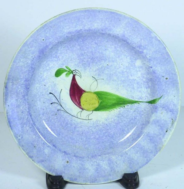 202: Antique Peafowl Spatterware Blue Plate