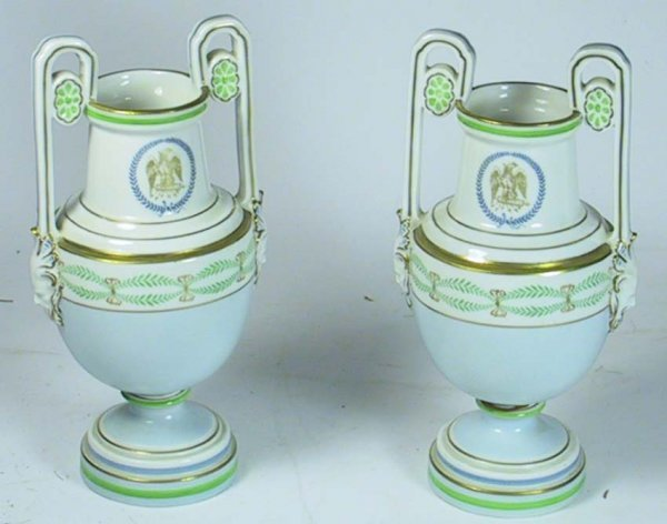 206: Pair Of Exceptional Richard Ginori Urns / Vases