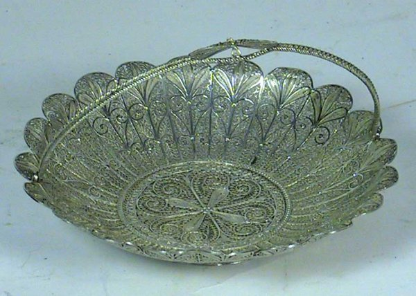 209: Hallmarked Russian Sterling Silver Filgre Basket