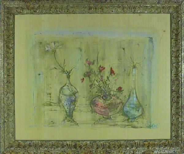 210: Signed Edna Hibel Painting On Silk