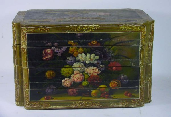 212: Vintage Hand Painted Tiered Jewelry / Lingerie Box