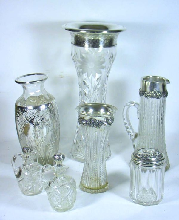 213: Lot of 7 Vintage Silver And Cut Crystal Pieces