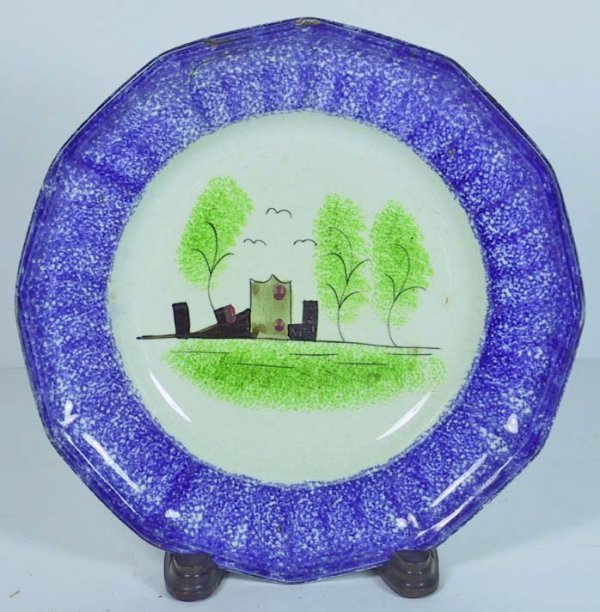 214: Rare Spatterware Blue Plate With Fort Motif