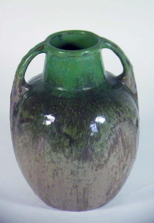 222: Large 2 handled Vintage  Signed Fulper Vase