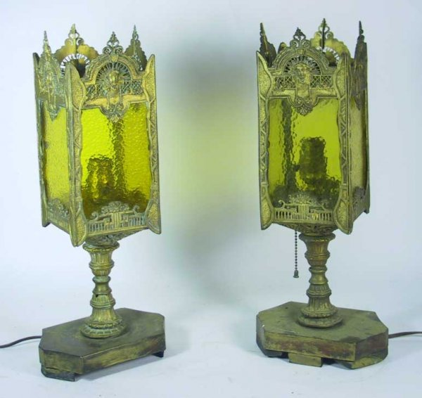 223: Ornate Figural Metal Art Nouveau Lamps