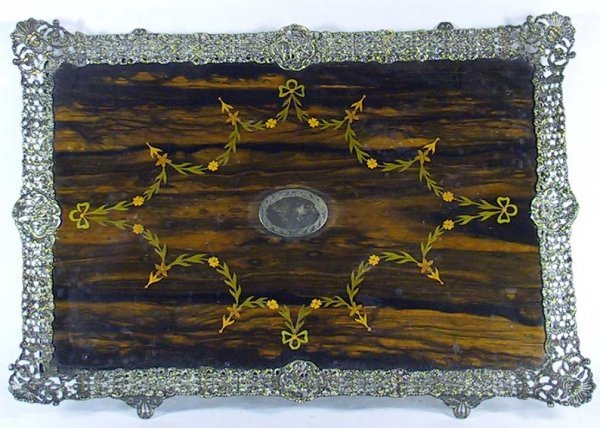 225: Sheffield Circa 1900 Silver Plate / Rosewood Tray