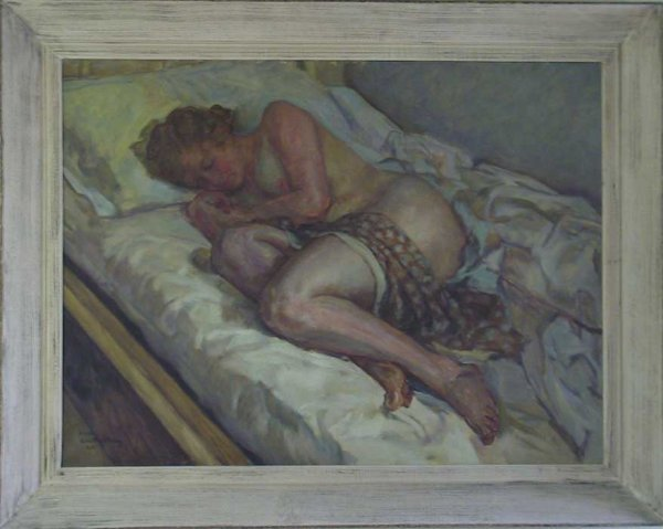 254: Large O/C Nude Painting Sgnd Nikol Schattenstein