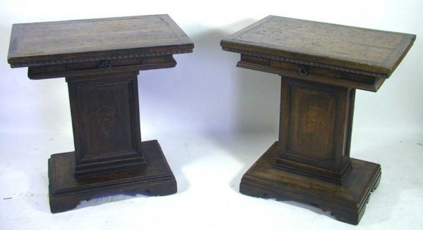 309: Pair of Antique Italian Inlaid Bedside Stands