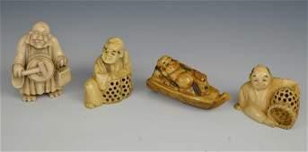4 Signed Japanese Carved Bone Netsukes