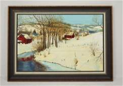 Incredible Winter Time Farm Scene O/C Signed Eugene