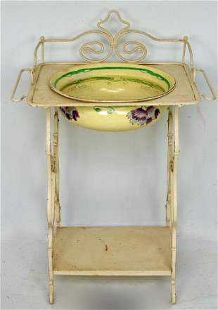 Nice, Vintage French Iron Washstand with Enamel Bowl