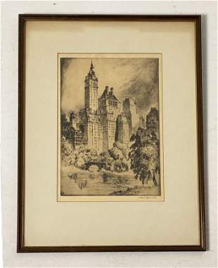 Nat Lowell Signed Etching of New York City