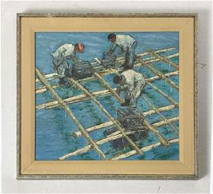 "Miriam Broudy ""Pearl Raft"" Painting on Masonite"