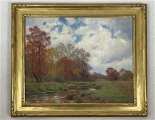 Signed William Merritt Post O/C Forest Lake Scene