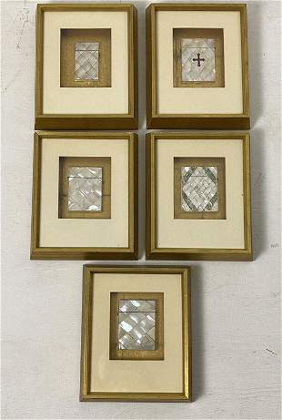 Collection of Framed Mother of Pearl Calling Card Cases