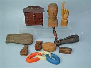 Group of Antique Folk Art Wood Carvings (Odd Fellows,