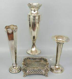 4 Pieces of Silver Plate (Vases & Planter)