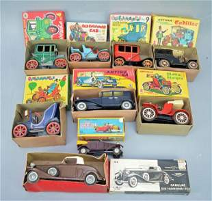 9 Vintage Toy cars ( Cadillac friction, Rolls Royce,