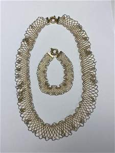 14K Gold Mesh Bracelet and Necklace Set.