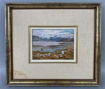 Anna Noeh Inuit Life Original Painting (Mountainous