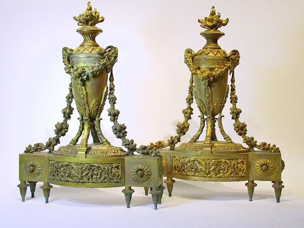 8: Pair of Neoclassical Style Gilt Bronze Chenets