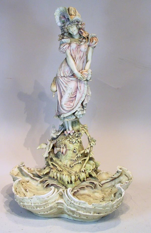 14: Large Teplitz Centerbowl With Figural Woman