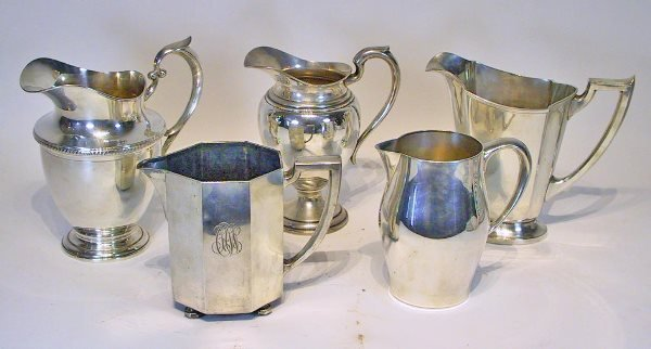 19: Lot of 5 Sterling Silver Pitchers