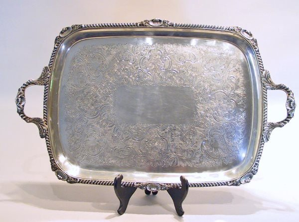 21: Large Handled English Sterling Silver Tray