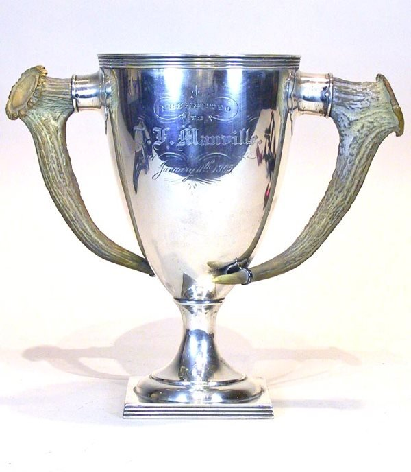 23: Large Sterling Silver Trophy with Stag Handles